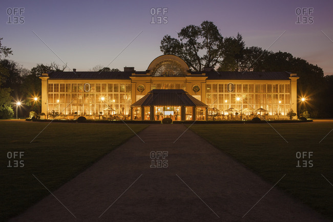 Poland- Warsaw- Royal Lazienki Park- New Orangery illuminated at night