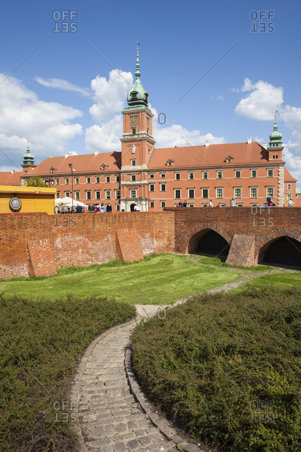 Poland- Warsaw- Old Town- Royal Castle and city wall fortification