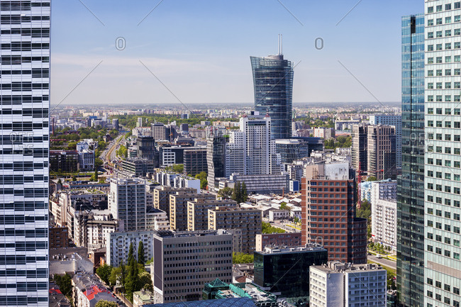 Poland- Warsaw- city center cityscape- elevated view from the downtown towards Wola district