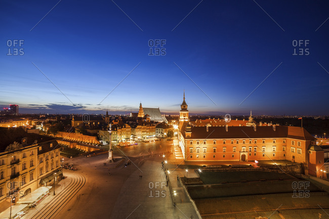 Poland- Warsaw- Old Town with Royal Castle and Square at night
