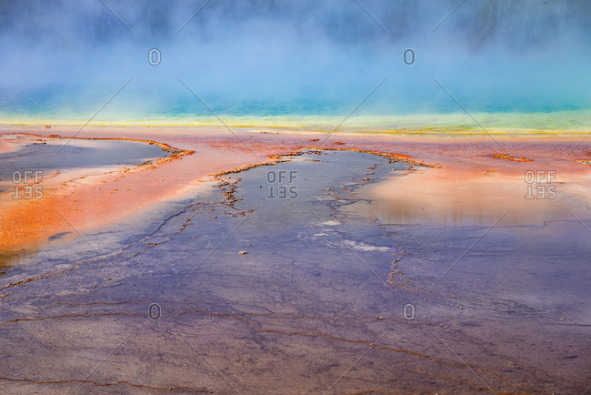 USA- Wyoming- Yellowstone National Park- Grand Prismatic Spring with puffy clouds