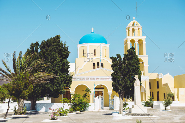 Greece- Santorini- Oia- Saint George Orthodox Church in a sunny day