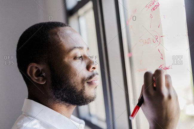Businessman in office writing on windowpane