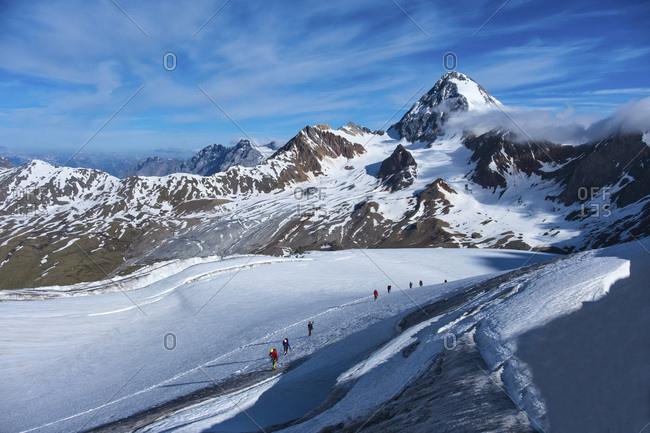 Italy- Lombardia- Valfurva- Alpinists and Monte Zebru