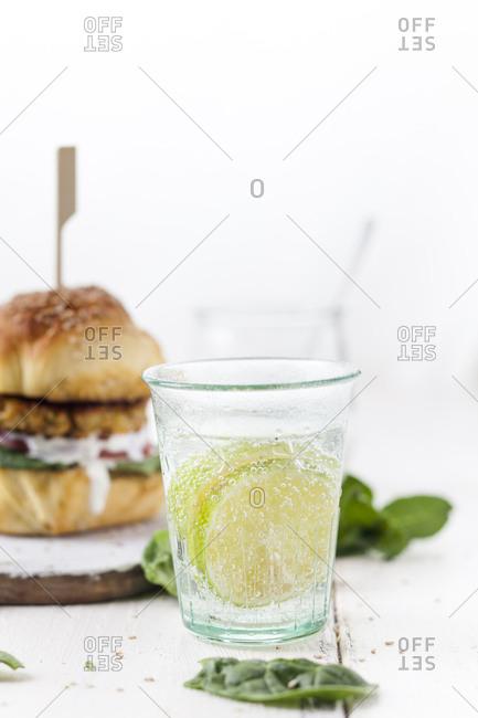 Limewater and vegetarian Burger