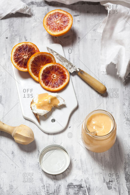 Homemade blood orange curd in a glass