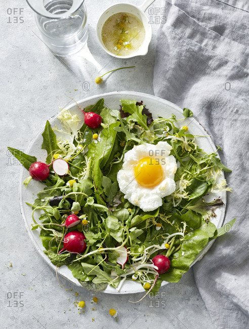 Salad with egg, radish, greens and chamomile on a dish