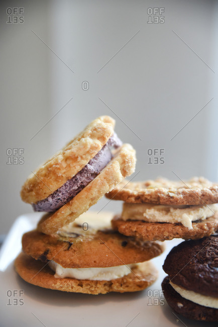 Variety of homemade ice cream cookie sandwiches