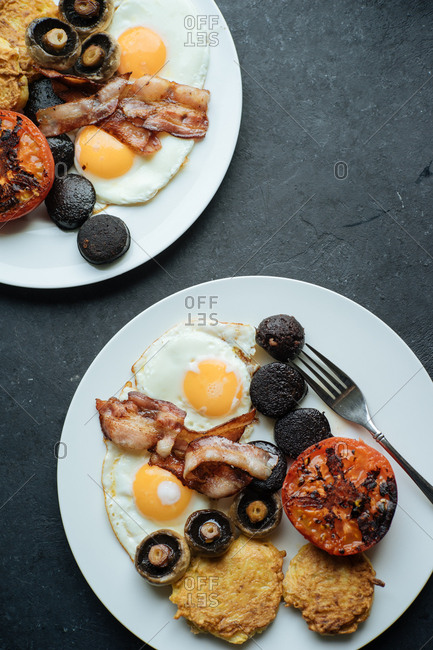 Traditional English breakfast served on two plates