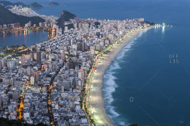 View from the top of Morro Dois Irmaos to Ipanema Beach in Rio de Janeiro, Brazil