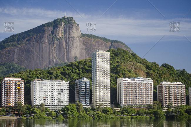 View from Lagoa Rodrigo de Freitas do Corcovado Mountain in Rio de Janeiro, Brazil