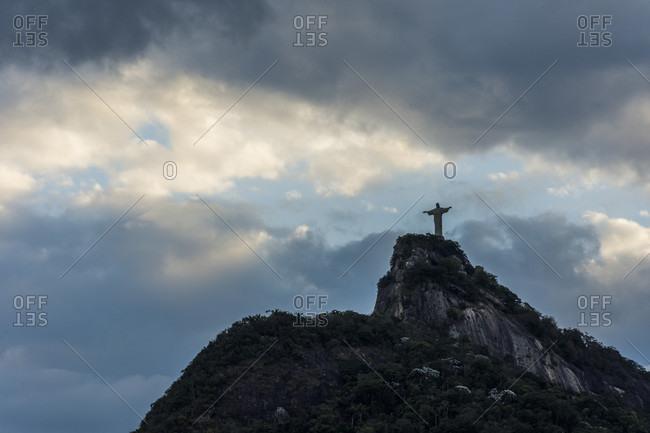 Clouds over Corcovado Mountain during sunset in Rio de Janeiro, Brazil