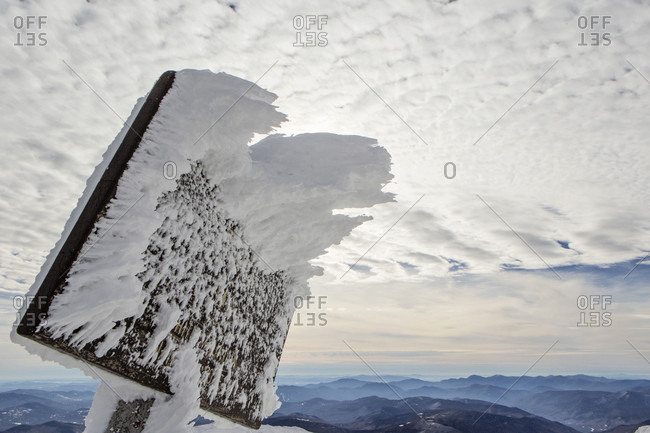 Rime Ice collects on a sign near the summit of Mount Washington, New Hampshire.