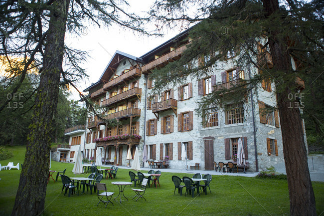 The Arolla Kurhaus in the Swiss Alps is one of the places you can stay for the night half way the Haute Route, a classic multi day hike between Chamonix in France and Zermatt in Switzerland.
