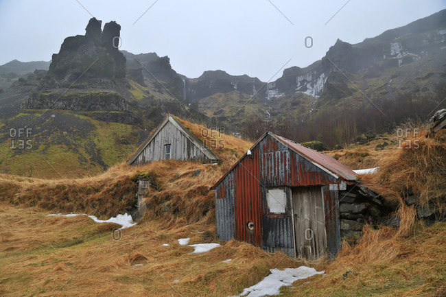 Nupsstaour abandoned farm turf-roofed sheds, Iceland
