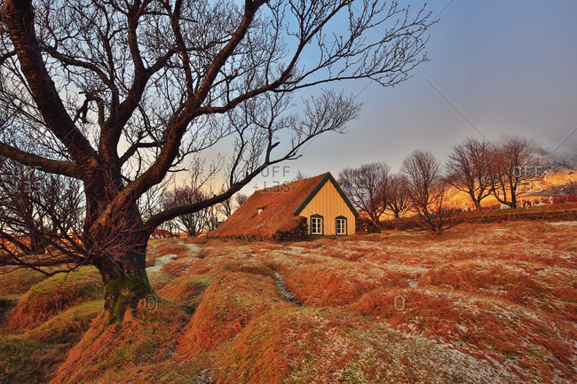 Hofskirkja turf-roofed church and grave mounds in winter light, Iceland