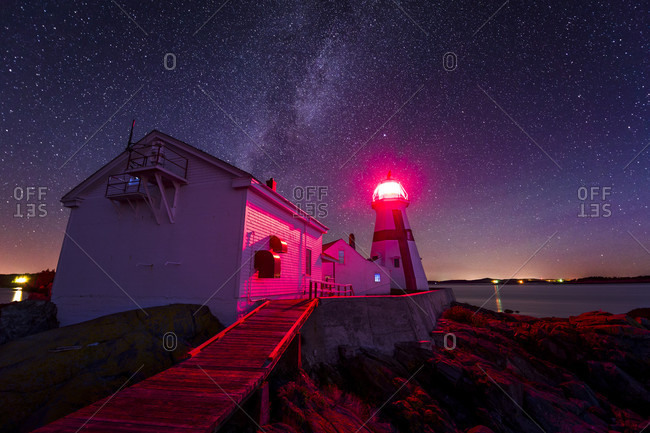 The Milky Way over Head Harbor Lighthouse (also known as East Quoddy Head Lighthouse) on Campobello Island in New Brunswick, Canada.