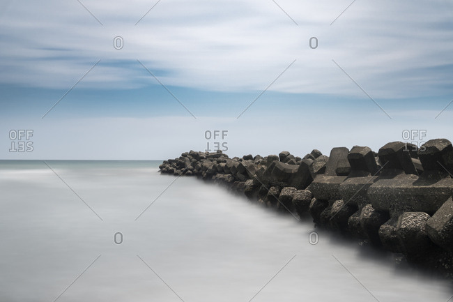 Long exposure of tetrapods in the sea, Inamuragasaki, Kanagawa Prefecture, Japan