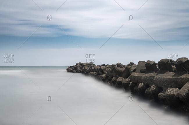 Long exposure of tetrapods in the sea, Inamuragasaki, Kanagawa Prefecture, Japan