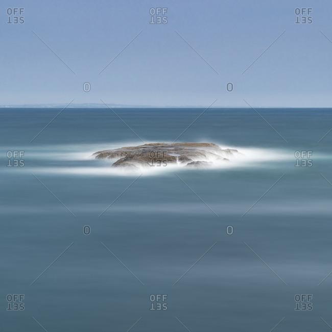Long exposure of rock and sea in Enoshima, Kanagawa Prefecture, Japan
