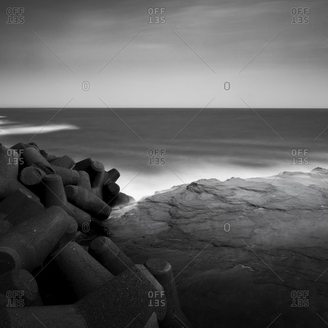 Long exposure of rocks and sea in Enoshima, Kanagawa Prefecture, Japan