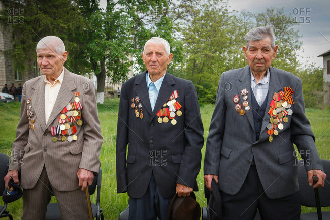 Vadeni, Moldova - May 8, 2017: Men with medals on Victory Day