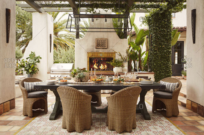 Calabasas, California - May 31, 2017: Outdoor dining space with fireplace