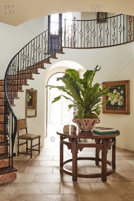 Calabasas, California - March 27, 2015: Entryway in Spanish style home