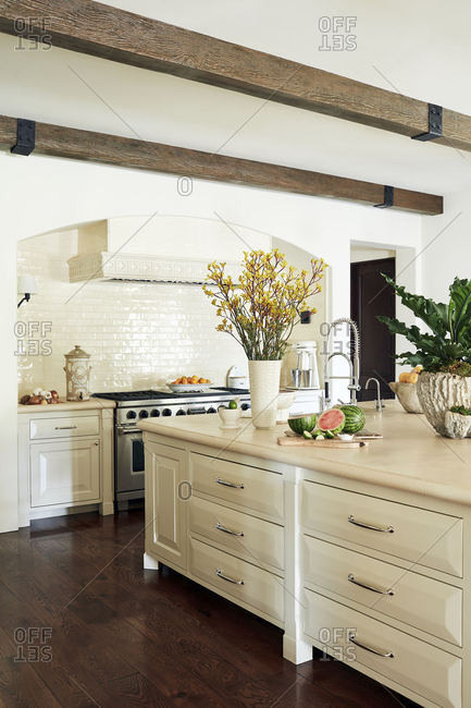 Calabasas, California - March 27, 2015: Kitchen of Spanish style home