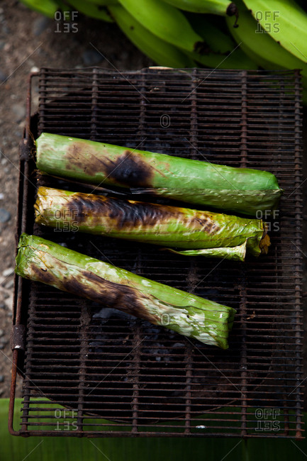 Grilling food wrapped in leaves, Ecuador