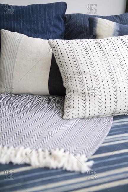 Pillows on a blue sofa