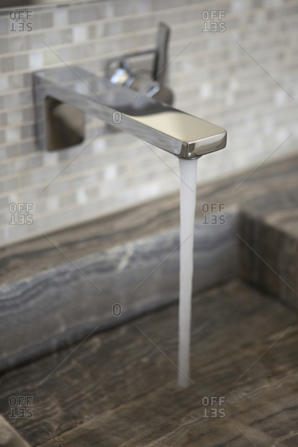 Running water in a bathroom sink