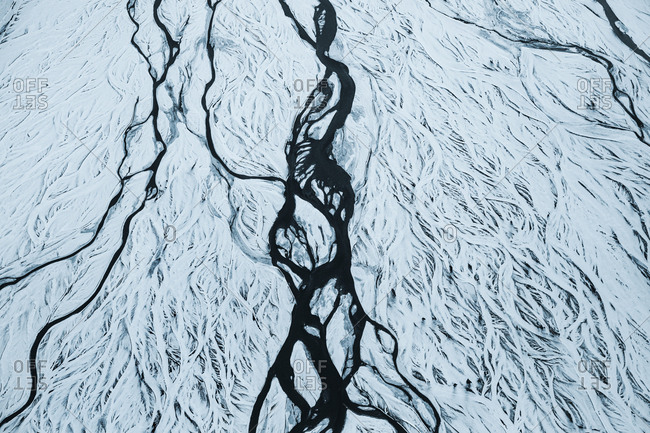 Aerial shot of a frozen river