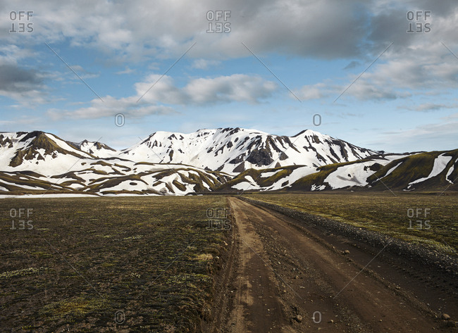 Mountain road in the highlands of Iceland.
