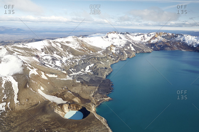 Aerial shot of a lake Oskjuvatn