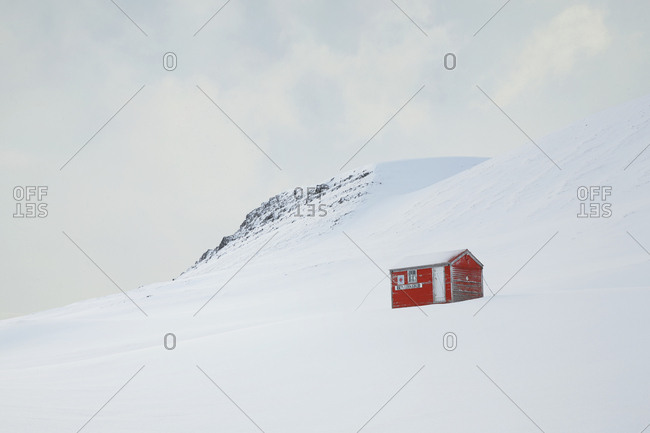 Westfjords, Iceland - January 29, 2014: Emergency hut in mountains