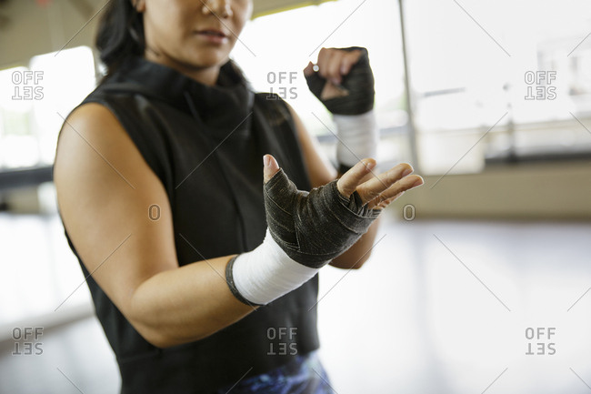 Female boxer in gym