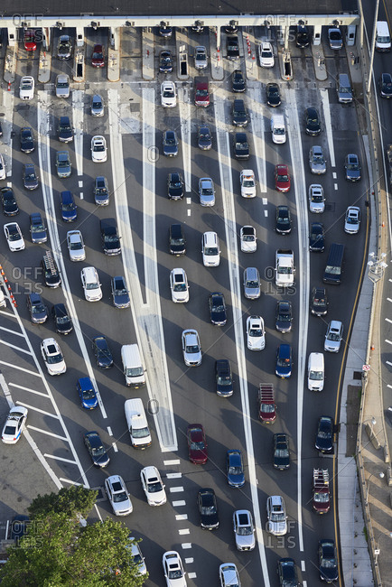 June 21, 2017: USA- New Jersey- rush hour traffic at Fort Lee in the morning- aerial view