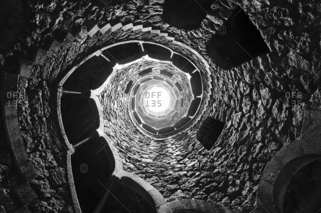 March 25, 2013: Portugal- Quinta da Regaleira- well shaft with spiral staircase