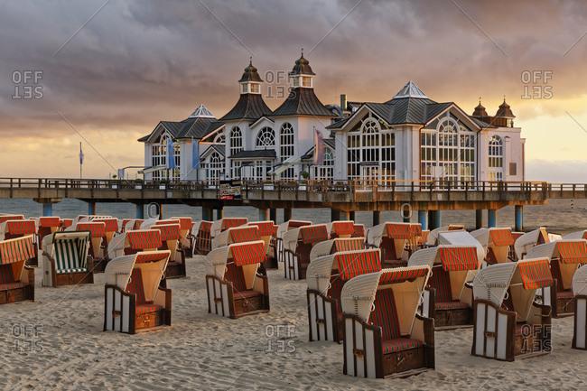 June 14, 2017: Germany- Mecklenburg-Western Pomerania- Baltic sea seaside resort Sellin- Hooded beach chairs on the beach