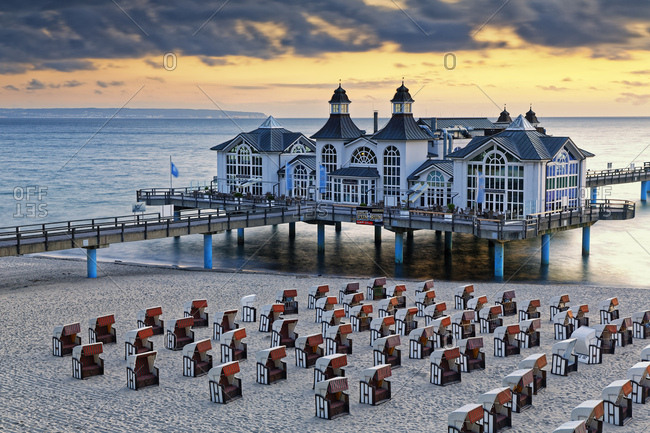 June 14, 2017: Germany- Mecklenburg-Western Pomerania- Baltic sea seaside resort Sellin- Hooded beach chairs on the beach