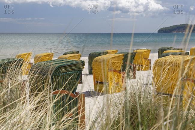 Germany- Mecklenburg-Western Pomerania- Baltic sea seaside resort Binz- Hooded beach chairs on the beach