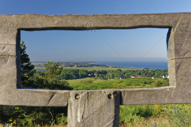 Germany- Mecklenburg-Western Pomerania- View of Hiddensee through wooden frame