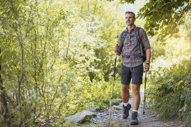Hiker on trail in the nature