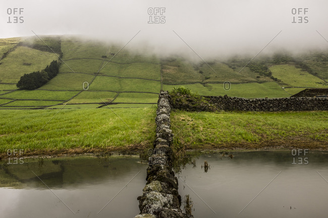 Stone wall dividing a pond and pasture