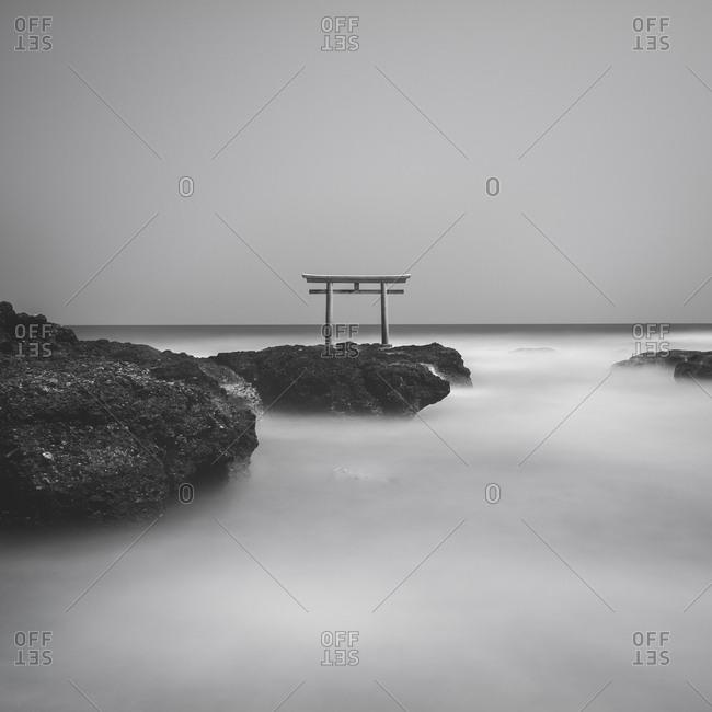 Long exposure of Isosaki shrine torii gate at sea