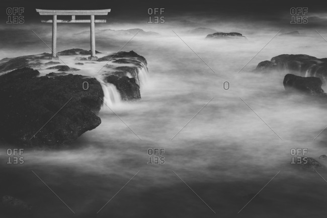Long exposure of Isosaki shrine torii gate at sea