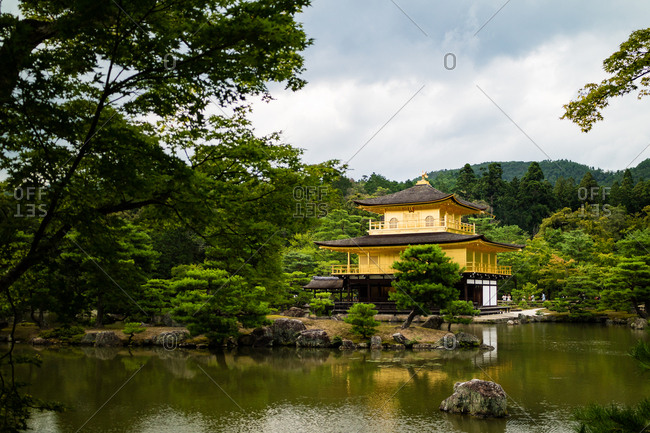 KYOTO, JAPAN - JULY 17, 2016: The shariden at Rokuon-ji, known as the Golden Pavilion(Kinkakuji)