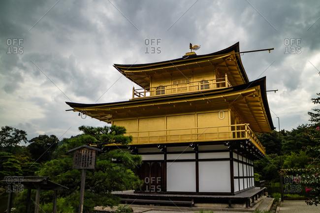 KYOTO, JAPAN - JULY 17, 2016: The shariden at Rokuon-ji, known as the Golden Pavilion(Kinkakuji)