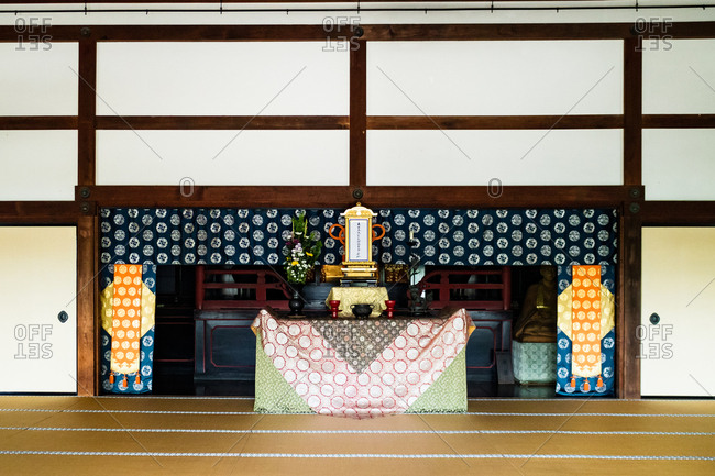 Kyoto, JAPAN - July 18, 2016: Washitsu room in front of Tenryu-ji temple, Kyoto